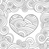 Coloring page with heart and wave curly ornament.