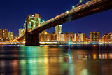 New York City - beautiful sunset over manhattan with  and brooklyn bridge