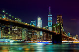 Brooklyn Bridge and Manhattan Skyline Night, New York City