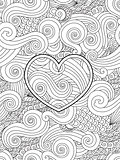 Coloring page with heart and asian wave curl ornament. Happy valentine day love card.
