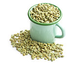 unroasted coffee beans in green mug
