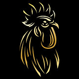 golden template for the logo with Rooster