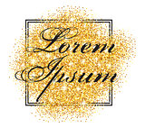 vector pattern with frame and inscription on the abstract background of the gold particles. Vekton illustration.