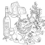 italian cuisine for coloring book