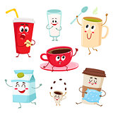 Set of funny milk, coffee, tea cup, glass, mug characters
