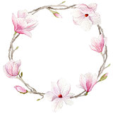 spring watercolor magnolia wreath. blossoms hand drawn elements for wedding or greeting card.