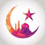 Colorful mosaic design - Mosque and Big Crescent moon, red color