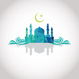 Colorful mosaic design - Mosque and Big Crescent moon, blue color