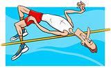 high jump sportsman cartoon