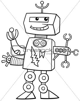 cartoon robot coloring page