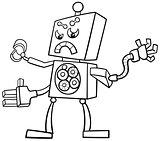 cartoon robot coloring page