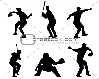 Six baseball player silhouettes