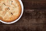 Whole Apple Pie Over Wooden Table Top