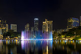 Kuala Lumpur City Skyline by Symphony Lake  at Night