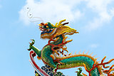 Chinese Dragon on Temple Rooftop