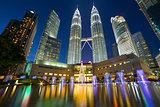 Kuala Lumpur Skyline by Symphony Lake at Night