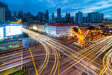 Traffic Light Trails in Singapore Chinatown
