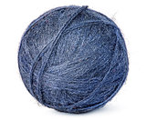Ball of blue wool yarn