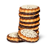 Stack chocolate cookies and two in front