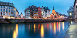 Panorama of embankment in Strasbourg, Alsace