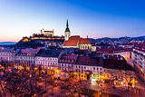 Night panorama of Bratislava city