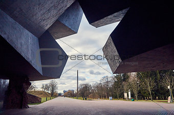 Brest, Belarus - December 28, 2016: The Main Entrance with carved five-pointed star to War Memorial Complex Brest-Hero-Fortress .
