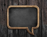 chalkboard in shape of speech bubble on wooden background