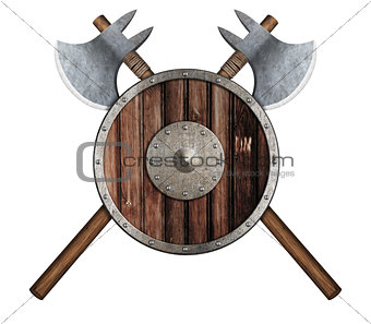 old wooden vikings' shield and two crossed axes