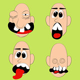 Set of man faces with facial expression.