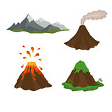 active, dormant volcano, mountain, set of