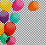 Glossy Happy Birthday Balloons on Transparent Background Vector