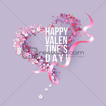 Valentines Day card with pink flowers heart shaped