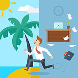 Business man running from office to summer beach