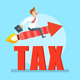 Businessman flying on a rocket avoiding tax