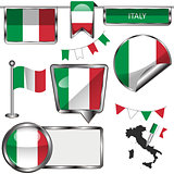 Glossy icons with flag of Italy