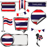 Glossy icons with flag of Thailand
