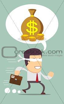 Blindfolded businessman running to find money