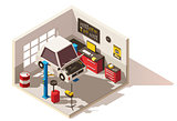 Vector isometric low poly car service center icon