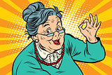 Grandma okay gesture, the elderly