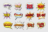 set comic book bubble stickers