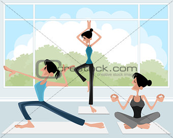 Three girl practicing yoga