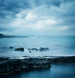 Blue Cold Sea. Peaceful Winter Seascape.