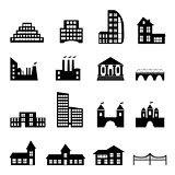 Buildings flat black icons set