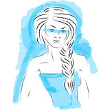Fashion girl sketch on blue background. Vector illustration