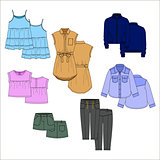 Vecor kids clothes. Color.