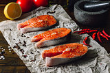 Three Salmon Steaks Prepared for Cooking