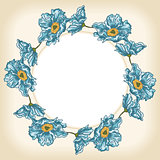 Blue flowers background circle frame