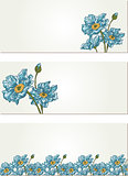 Nature banners with blue flower