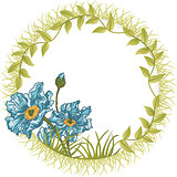 Round Frame Blue Flower