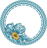 Vintage round frame with blue flower